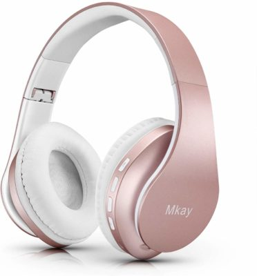 This is an image of a rose gold wireless headset for women.