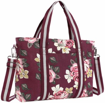 This is an image of a wine red base rose tote bag for teens.