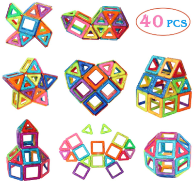 This is an image of kid's Manve Magnetic Tiles Building Blocks Toys