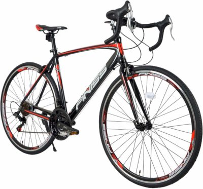 This is an image of a red and black racing bicycle for teenagers.