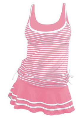 This is an image of a striped pink swim dress for teenage girls.