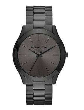 This is an image of a black slim watch with stainless steel strap by Michael Kors.