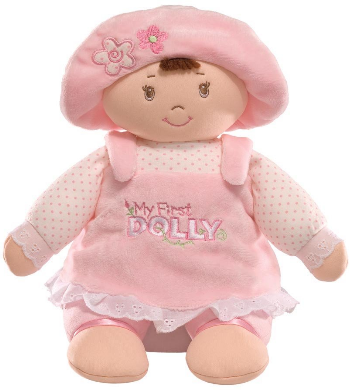 This is an image of kid's My First Dolly Stuffed Brunette Doll Plush in pink color