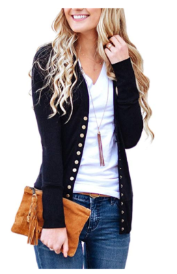 This is an image of a women wearing a black cardigan.
