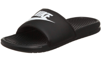 This is an image of a black and white sandals for men.