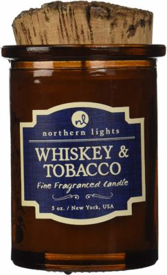 This is an image of a candle with whiskey and tabacco scent by Northern Light Candles.