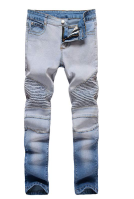 This is an image of a blue ripped skinny jeans for teenage boys.