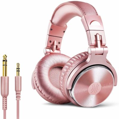 This is an image of a pink ear headphone for women.