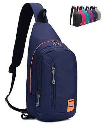 This is an image of a dark blue crossbody backpack for teenage boys.
