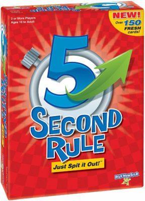 This is an image of a 5 second rule card game for kids and adults.