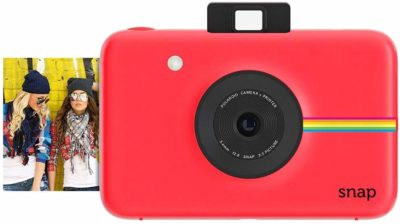This is an image of a red instant digital camera for women.