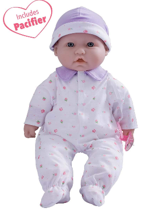 This is an image of kid's Purple Washable Soft Baby Doll in purple color
