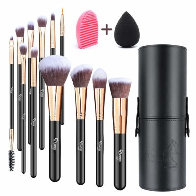 This is an image of a black and rose gold makeup brush set for teens.