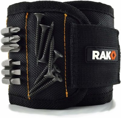 This is an image of a black magnetic wristband for men by RAK.