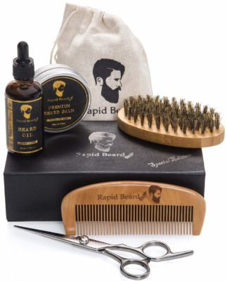 This is an image of a grooming and trimming kit for men by Rapid Beard.