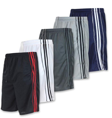 This is an image of a 5 pack athletic shorts for teenage boys.