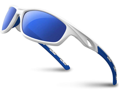 This is an image of a white and blue sports sunglasses for teenage boys.
