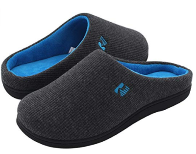 This is an image of a dark gray with blue foam slipper for teenage boys.