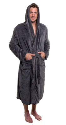 This is an image of a man wearing grey bathrobe.
