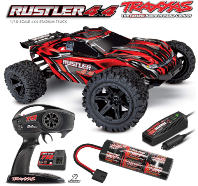 This is an image of kid's Rustler 4X4: 1/10-scale 4WD Stadium Truck