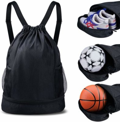 This is an image of a black drawstring bag with multiple compartments for teenage boys.