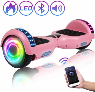 This is an image of a pink hoverboard with speaker and lights.