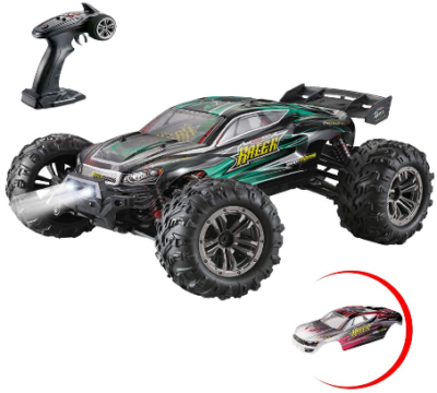 This is an image of kid's scale all terrain remote control car in black and green colors