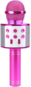 this is an image of a pink karaoke microphone