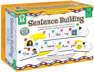 This is an image of kid's Sentence Building Literacy Resource with 86 Cards