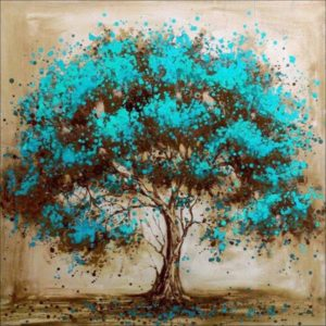 This is an image of a tree diamond painting kit.