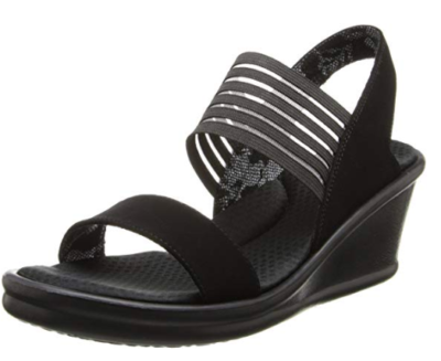This is an image of a black rumblers rock sandals for women.