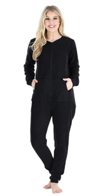 This is an image of a lady wearing a black with zipper onesie pajama.