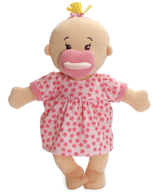 This is an image of kid's soft baby doll in pink color