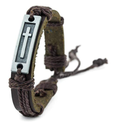 This is an image of a brown leather bracelet with cross pendant designed for teenage men.