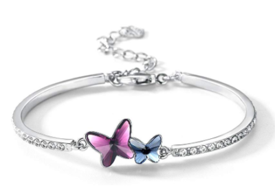 This is an image of a purple and pink butterfly bangle for teens.