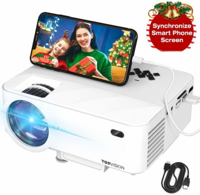 This is an image of a white mini projector with smartphone connector.