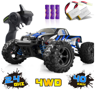 This is an image of kid's Terrain RC Cars in white blue and black colors