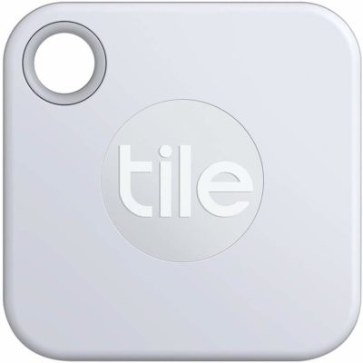 This is an image of a silver tracker by Tile.