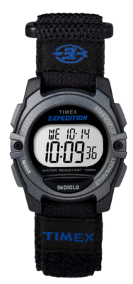 This is an image of a black classic digital Timex watch.