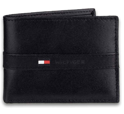 This is an image of a black bifold wallet for men by Tommy Hilfiger.