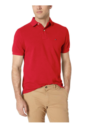 This is an image of a red polo shirt for teenage boys.