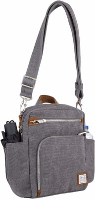 This is an image of a grey pewter anti theft bag for men by Travelon.