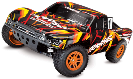 This is an image of kid's Traxxas Slash 4X4 1/10 Scale 4X4 Short Course Truck, Orange color