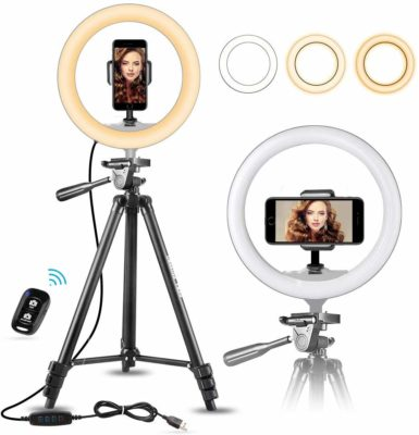 This is an image of a ring light, tripod and smartphone holder with bluetooth remote control.