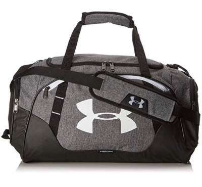This is an image of a graphite Under Armour gym bag for teenage boys.