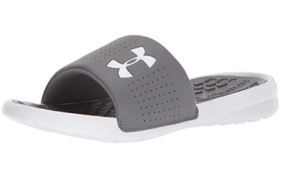 This is an image of a graphite white slide sandal for teenage boys.