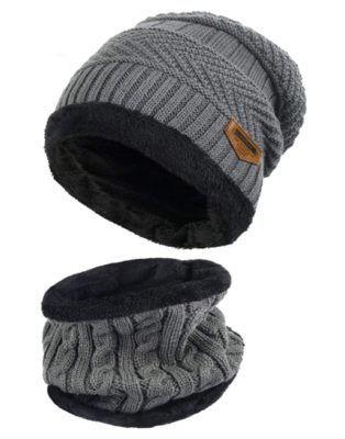 This is an image of a grey beanie hat and scarf for winter season designed for men.