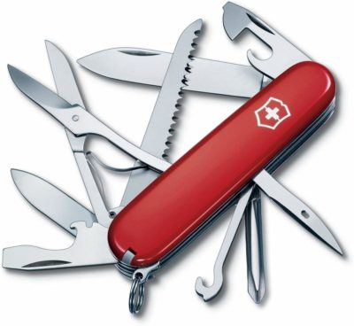 This is an image of a multi tool red pocket knife.