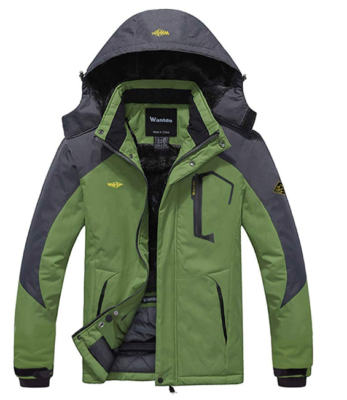 This is an image of a green waterproof jacket for teenage boys.