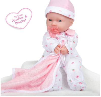 This is an image of kid's soft play doll in white and pink colors